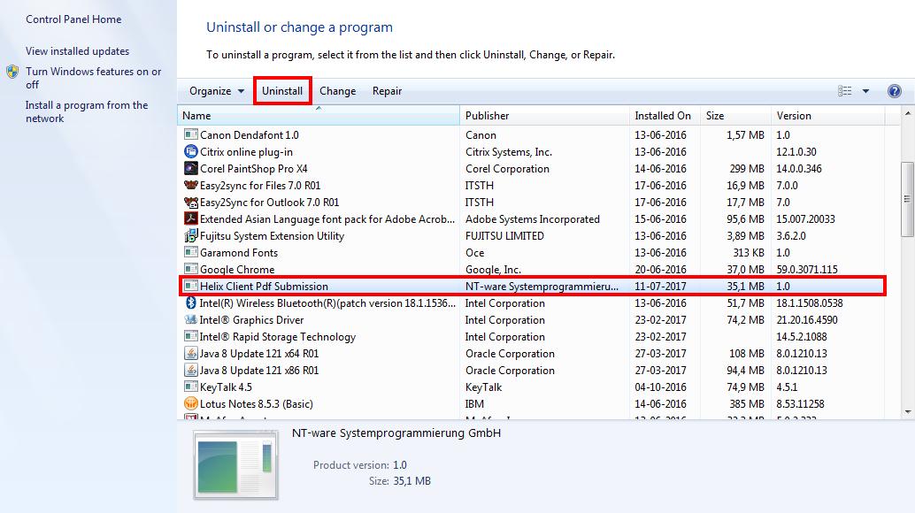 Remove the Canon Internet Printer (Windows